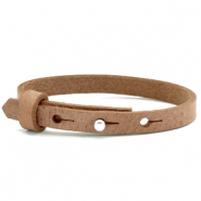 Cuoio armbanden leer kids 8mm voor 12mm cabochon Toasted nut brown