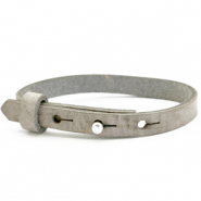 Cuoio armbanden leer kids 8mm voor 12mm cabochon Neutral grey