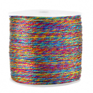 Macramé draad metallic 0.5mm Colour mix blue