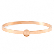 Polaris Steel (RVS) bangle armband met setting voor 7mm cabochon/Swarovski SS34 Rosé goud