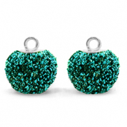 Pompom bedels met oog glitter 12mm Fir green-silver