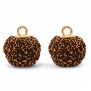 Pompom bedels met oog glitter 12mm Dark brown-gold