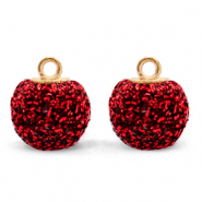 Pompom bedels met oog glitter 12mm Salsa red-gold
