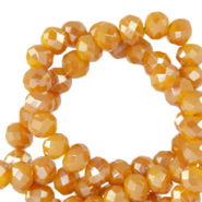 Top Facet kralen 4x3 mm disc Honey golden orange-pearl shine coating