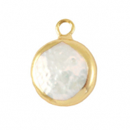Zoetwaterparels bedel round Gold-Natural white