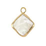 Zoetwaterparels bedel rhombus Gold-Natural white