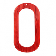 Resin hangers langwerpig ovaal 56x30mm Chilli red