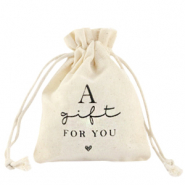 "Sieraad zakje linnen ""a gift for you"" Off white"