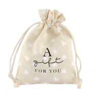 "Sieraad zakje linnen ""a gift for you"" snowflake Off white"