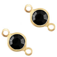 Bedels DQ metaal tussenstuk crystal glas rond 6mm Gold-Jet black opaque