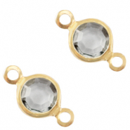 Bedels DQ metaal tussenstuk crystal glas rond 4mm Gold-Grey crystal