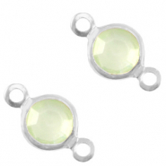 Bedels DQ metaal tussenstuk crystal glas rond 4mm Silver-Meadow green crystal