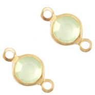 Bedels DQ metaal tussenstuk crystal glas rond 4mm Gold-Meadow green crystal