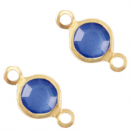 Bedels DQ metaal tussenstuk crystal glas rond 4mm Gold-Victoria blue crystal