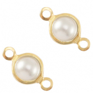 Bedels DQ metaal tussenstuk parel 4mm rond Gold-White