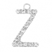 Basic quality metalen bedels strass initial Z Antiek zilver