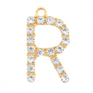 Basic quality metalen bedels strass initial R Goud