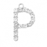 Basic quality metalen bedels strass initial P Antiek zilver