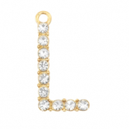 Basic quality metalen bedels strass initial L Goud