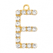 Basic quality metalen bedels strass initial E Goud