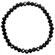 Top facet armbandjes 6x4mm Jet black-pearl shine coating