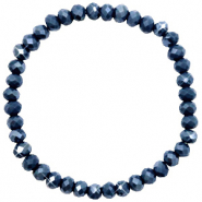 Top facet armbandjes 6x4mm Dark blue-pearl shine coating