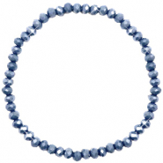 Top facet armbandjes 4x3mm Blue stone-pearl shine coating