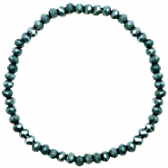 Top facet armbandjes 4x3mm Dark eden green-pearl shine coating