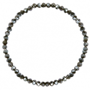 Top facet armbandjes 4x3mm Dark olive green-pearl shine coating