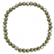 Top facet armbandjes 6x4mm Olive green-pearl shine coating