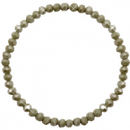 Top facet armbandjes 4x3mm Olive green-pearl shine coating