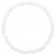 Top facet armbandjes 4x3mm White opal-pearl shine coating