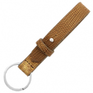 Cuoio sleutelhangers leer croco 15mm Tobacco brown-gold