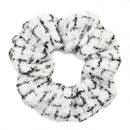 Scrunchies haarelastiek woven White-black