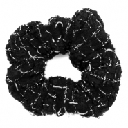Scrunchies haarelastiek woven Black-white