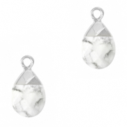 Natuursteen hangers White marble-silver