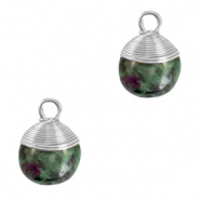 Natuursteen hangers wire wrapped Dark green marble-silver