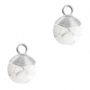 Natuursteen hangers wire wrapped White marble-silver