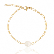 Roestvrij stalen (RVS) Stainless steel armbanden pearl Goud