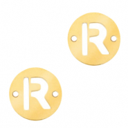 Roestvrij stalen (RVS) Stainless steel bedels tussenstuk rond 10mm initial coin R Goud