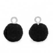 Pompom bedels met oog 10mm Silver-Black