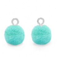 Pompom bedels met oog 10mm Silver-Icy morn blue