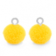 Pompom bedels met oog 10mm Silver-Sunshine yellow
