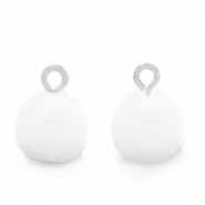 Pompom bedels met oog 10mm Silver-White