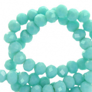 Top Facet kralen 6x4 mm disc Bleached aqua turquoise-pearl shine coating
