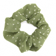 Scrunchies haarelastiek dots Green