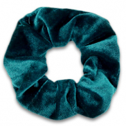 Scrunchies haarelastiek velvet Peacock green