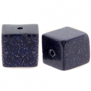 4 mm natuursteen kralen square Black-blue