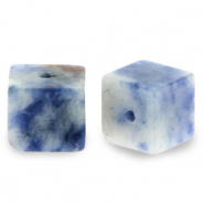 8 mm natuursteen kralen square Blue white