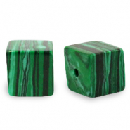 4 mm natuursteen kralen square Green
